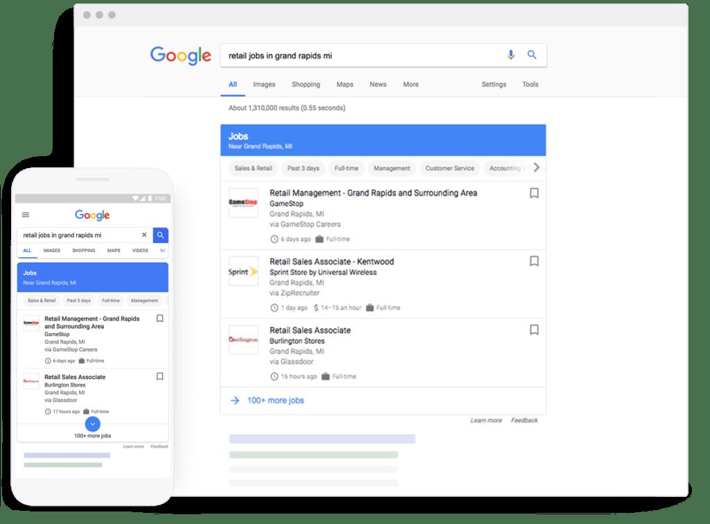 vacature-zoekfunctie Google